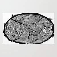 tree rings Area & Throw Rugs featuring Growing Old - Tree Rings by Courtnduncan