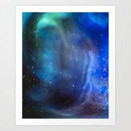 Under The Galaxy - Milk & Food Coloring Painting Art Print