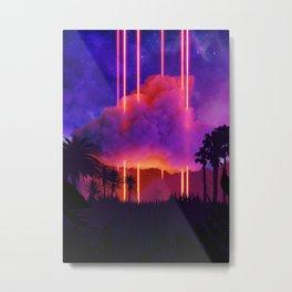 Neon palms landscape: Cloud Metal Print