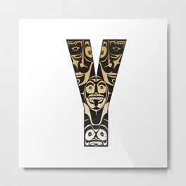 Northwest Pacific Coast American Native Totem Letter Y Metal Print