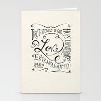 scripture Stationery Cards featuring Love Extravagantly scripture print by Kristen Ramsey