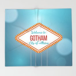 Welcome to Gotham City of Villains Throw Blanket