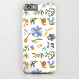 Blue Floral Pattern iPhone Case