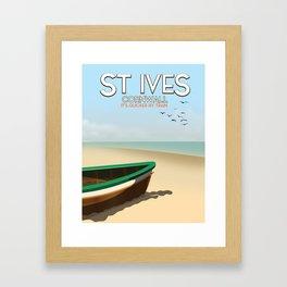 St Ives ,Cornwall ,beach travel poster, Framed Art Print