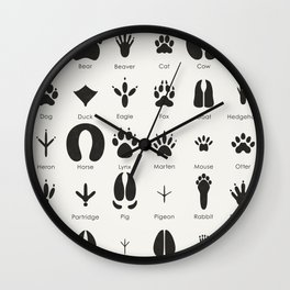 Common Animal Tracks Wall Clock