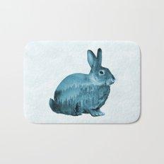 Misty Forest Bunny - Turquoise Blue Bath Mat