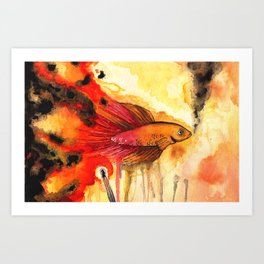 Underwater Inferno Art Print