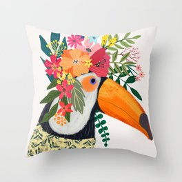 Toucan with flowers on head Throw Pillow
