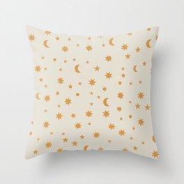 Moon Stars Pattern - Gold Throw Pillow