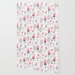 Pink and Gray Tulips Wallpaper
