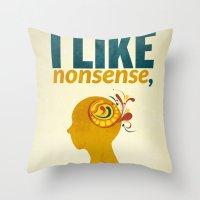 dr seuss Throw Pillows featuring Dr. Seuss by Kongoriver