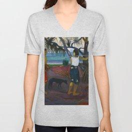 Under the Pandanus by Paul Gauguin Unisex V-Neck