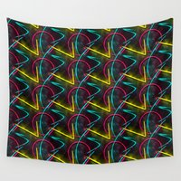 80s Wall Tapestries featuring Neon 80s Pattern by Idle Amusement