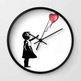 Banksy cosmic balloon Wall Clock