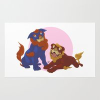 pit bull Area & Throw Rugs featuring Pit Bull Shisa Guardians by AlliePets