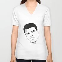 ali gulec V-neck T-shirts featuring Ali II by Renan Lacerda