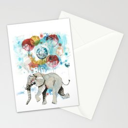 The flying elephant Stationery Cards