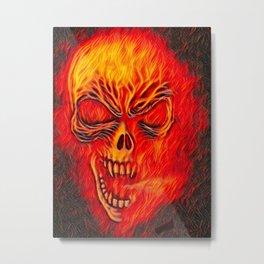 Fire Skull Airbrush Metal Print