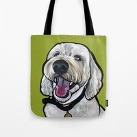 kermit Tote Bags featuring Kermit the labradoodle by Pawblo Picasso