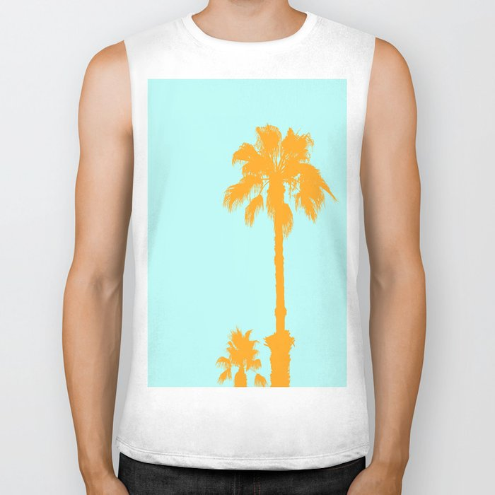 Orange palm trees silhouettes on blue Biker Tank