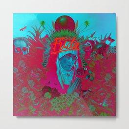 Frida Kahlo neon Metal Print