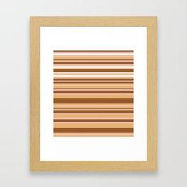 Coffee color stripes Framed Art Print