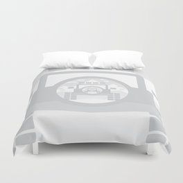 Light Grey digital drawing of a 4x4 adventure vehicle in the mountains Duvet Cover