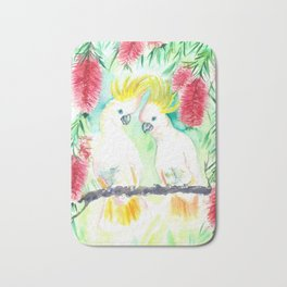 Cockatoos in bottle brush tree Bath Mat