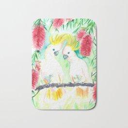 Cockatoos in bottle brush tree Bath Mat