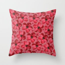 Red Flowers in Pink Throw Pillow
