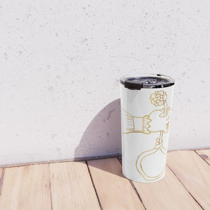 the river holds a flower . gold Travel Mug