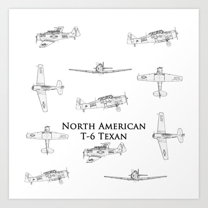 North american t 6 texan blueprint style artwork art print by north american t 6 texan blueprint style artwork art print malvernweather Images