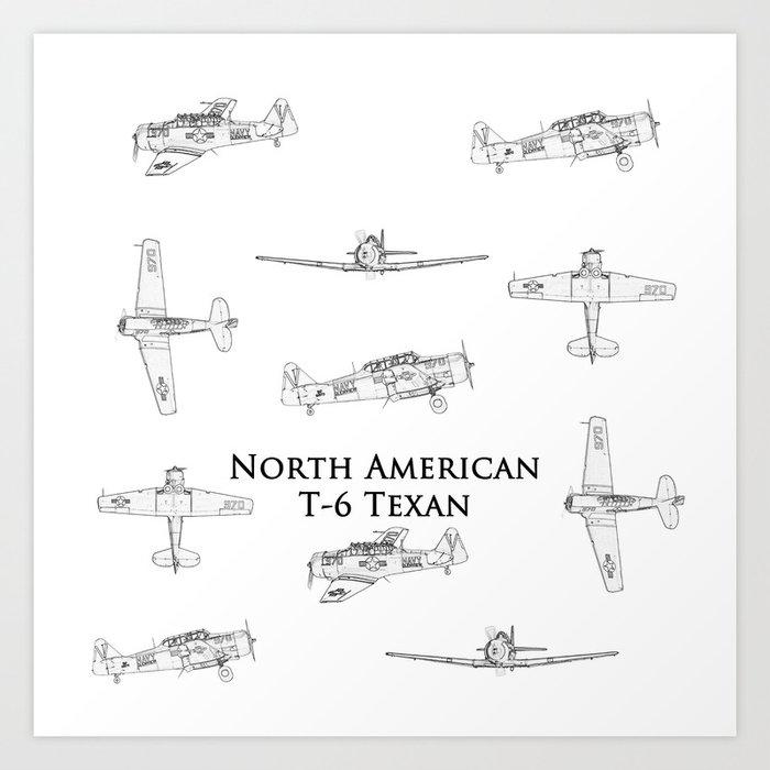 North american t 6 texan blueprint style artwork art print by north american t 6 texan blueprint style artwork art print malvernweather Gallery