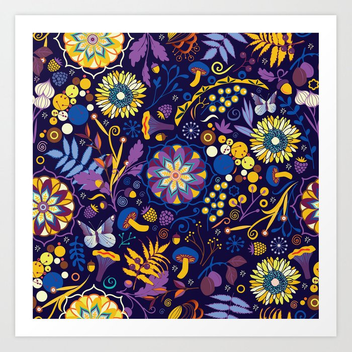 Ripe autumn purple and yellow art print by camcreative for Purple and yellow painting