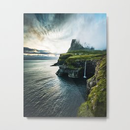 waterfall at faroe Metal Print