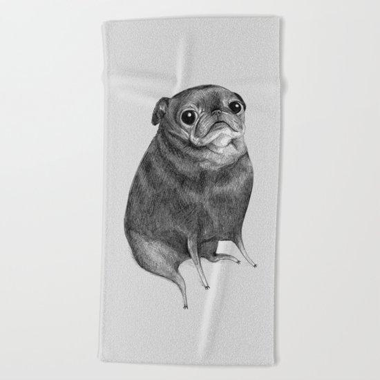 Sweet Black Pug Beach Towel