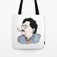 kurt vonnegut Tote Bags featuring Kurt by JT Illustrates