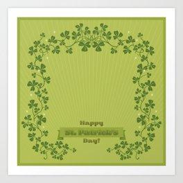 Happy St. Patrick's Day! (clovers) Art Print