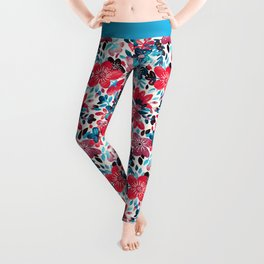 Happy Red Flower Collage Leggings