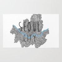 seoul Area & Throw Rugs featuring Seoul city by Vania Pietronigro