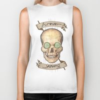 forever young Biker Tanks featuring Forever young by Glutamat Studio