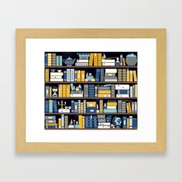 Book Case Pattern - Blue Yellow Framed Art Print