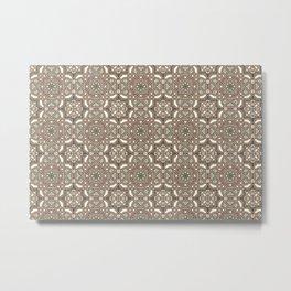 Ornamental Scroll Pattern Earthen Trail, Melon Green, Dover White & Ever Classic Gray Metal Print