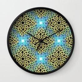 Chic Artistic Victorian Golden Trim Aqua Background  Wall Clock