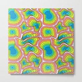 Op Art Rainbow Ripples White Metal Print