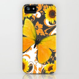 GOLDEN BUTTERFLY & SUNFLOWERS ARABESQUES iPhone Case