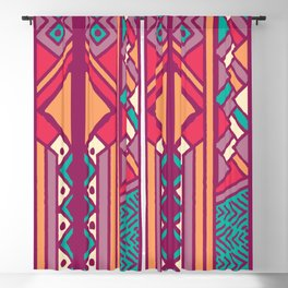 Tribal ethnic geometric pattern 001 Blackout Curtain