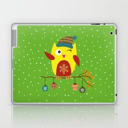 Cute Owl sitting on a branch with christmas baubles, Winter, X-mas Design Laptop & iPad Skin