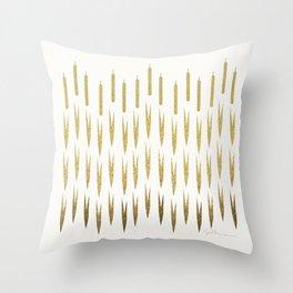 Gold Cattails Throw Pillow