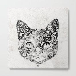 Swirly Cat Portrait (b/w) Metal Print